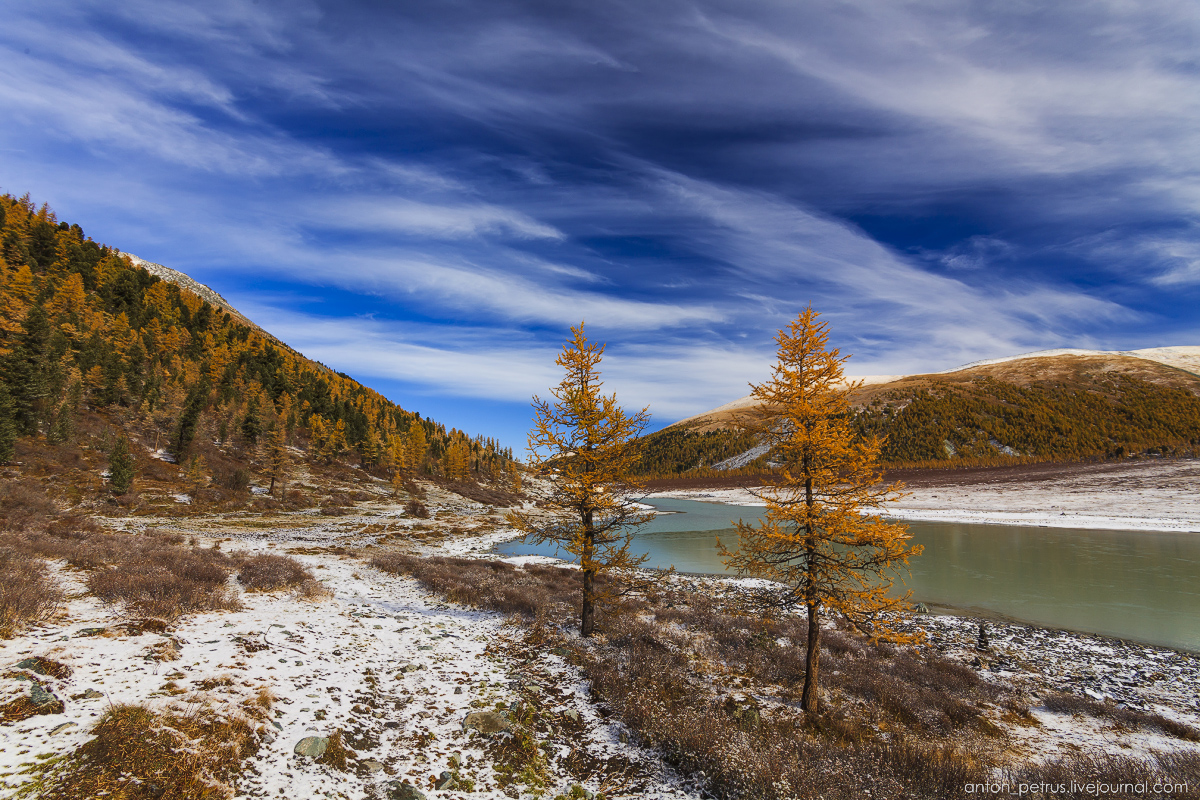 Golden autumn in Altai. Lake Akkem 03