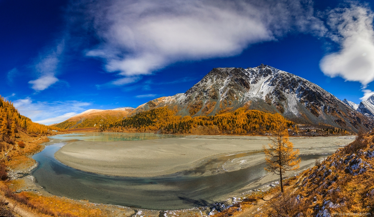 Golden autumn in Altai. Lake Akkem 13