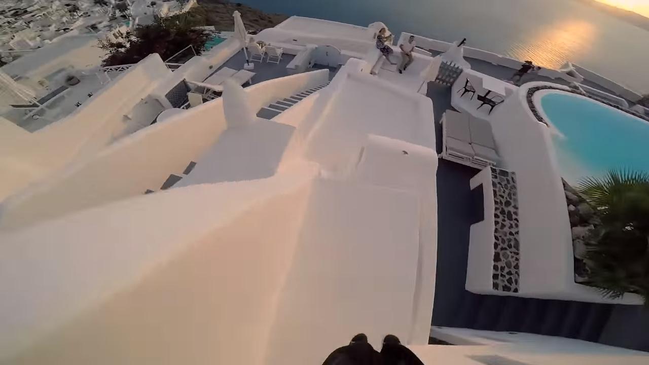 Паркур в Санторини, Греция