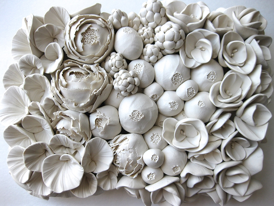 Polymer Flower Sculptures and Tiles by Angela Schwer 03