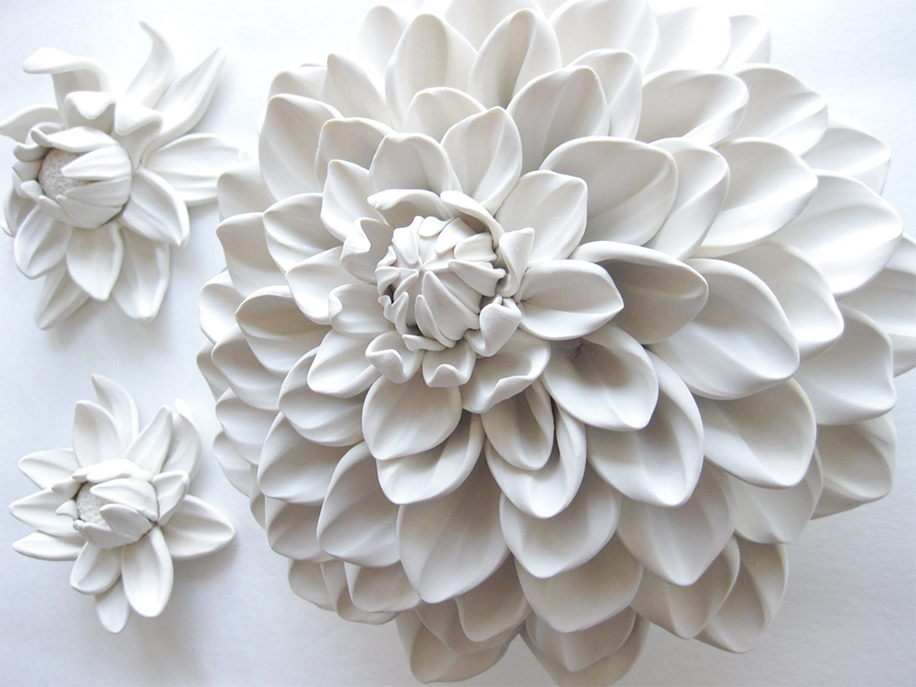 Polymer Flower Sculptures and Tiles by Angela Schwer 07