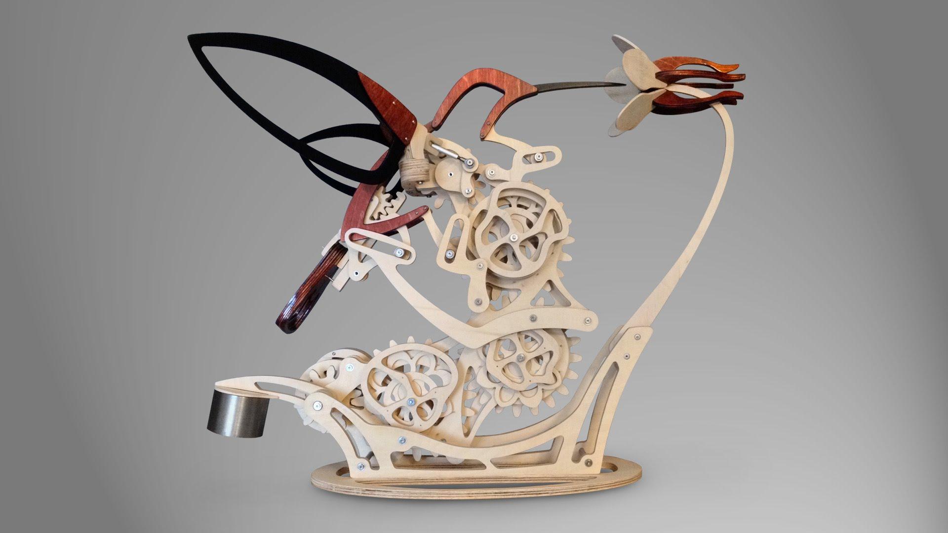 Кинетическая скульптура Дерека Хаггера, которая имитирует полет колибри