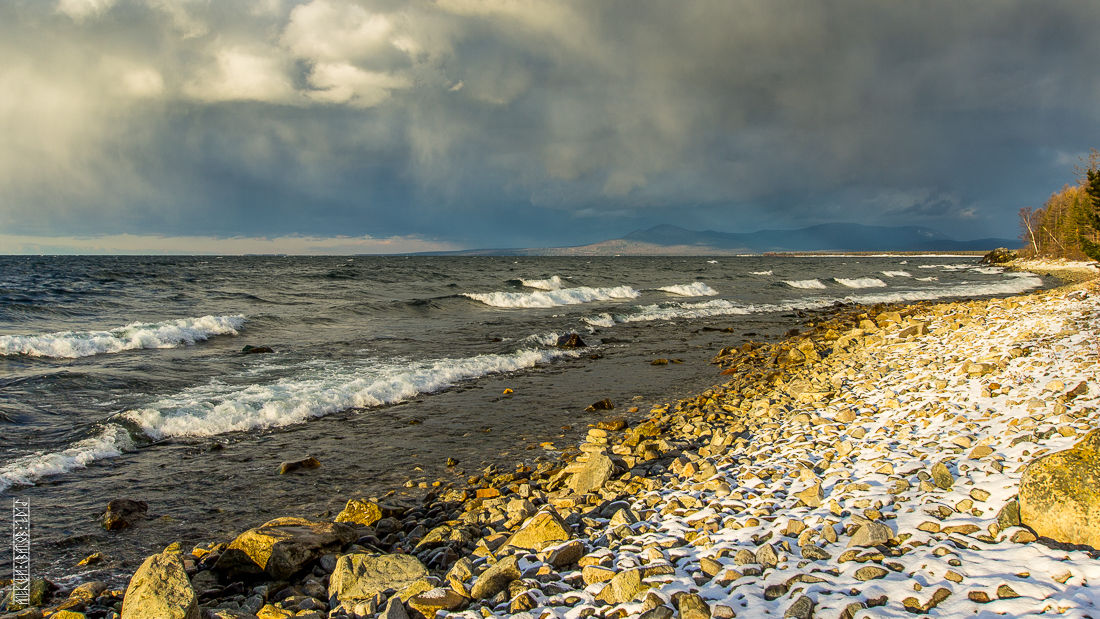 The waves, the snow and rocks of the Baikal 03