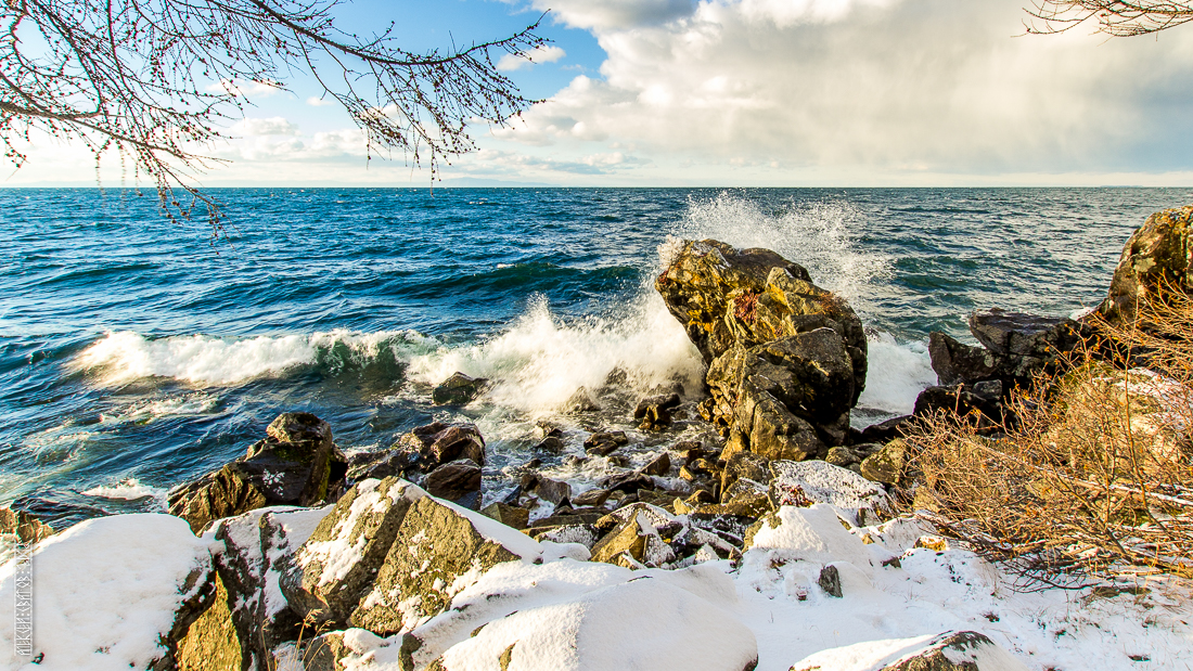 The waves, the snow and rocks of the Baikal 05