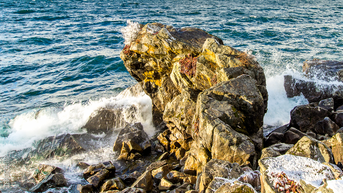 The waves, the snow and rocks of the Baikal 06