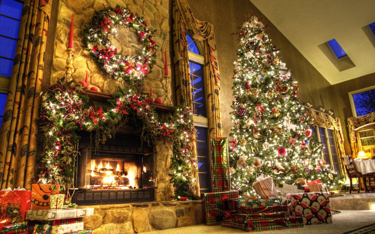 New year images with Christmas trees and fireplaces 01