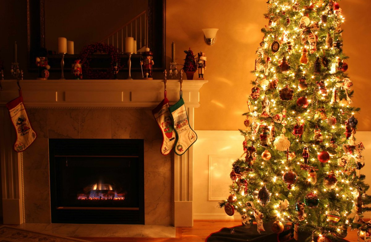 New year images with Christmas trees and fireplaces 04