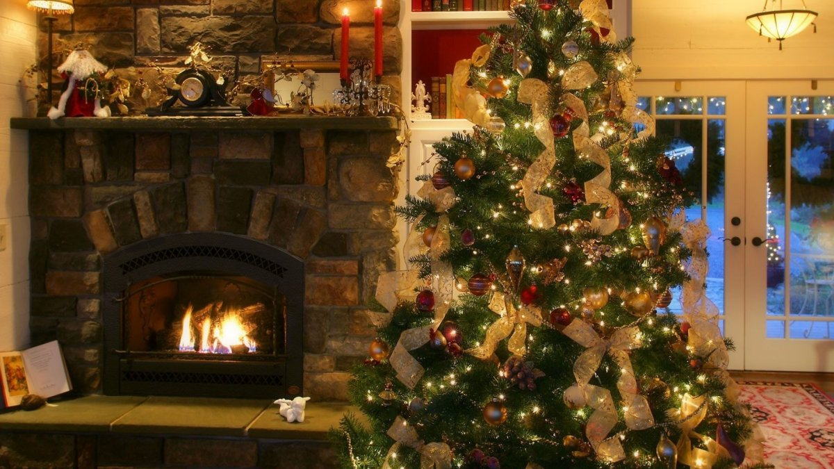 New year images with Christmas trees and fireplaces 05