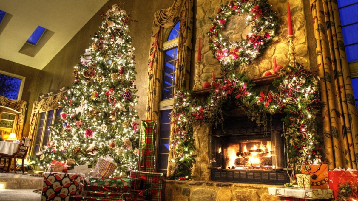 New year images with Christmas trees and fireplaces 09