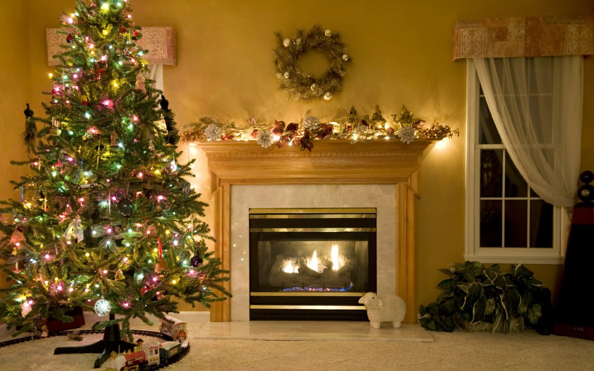 New year images with Christmas trees and fireplaces 14