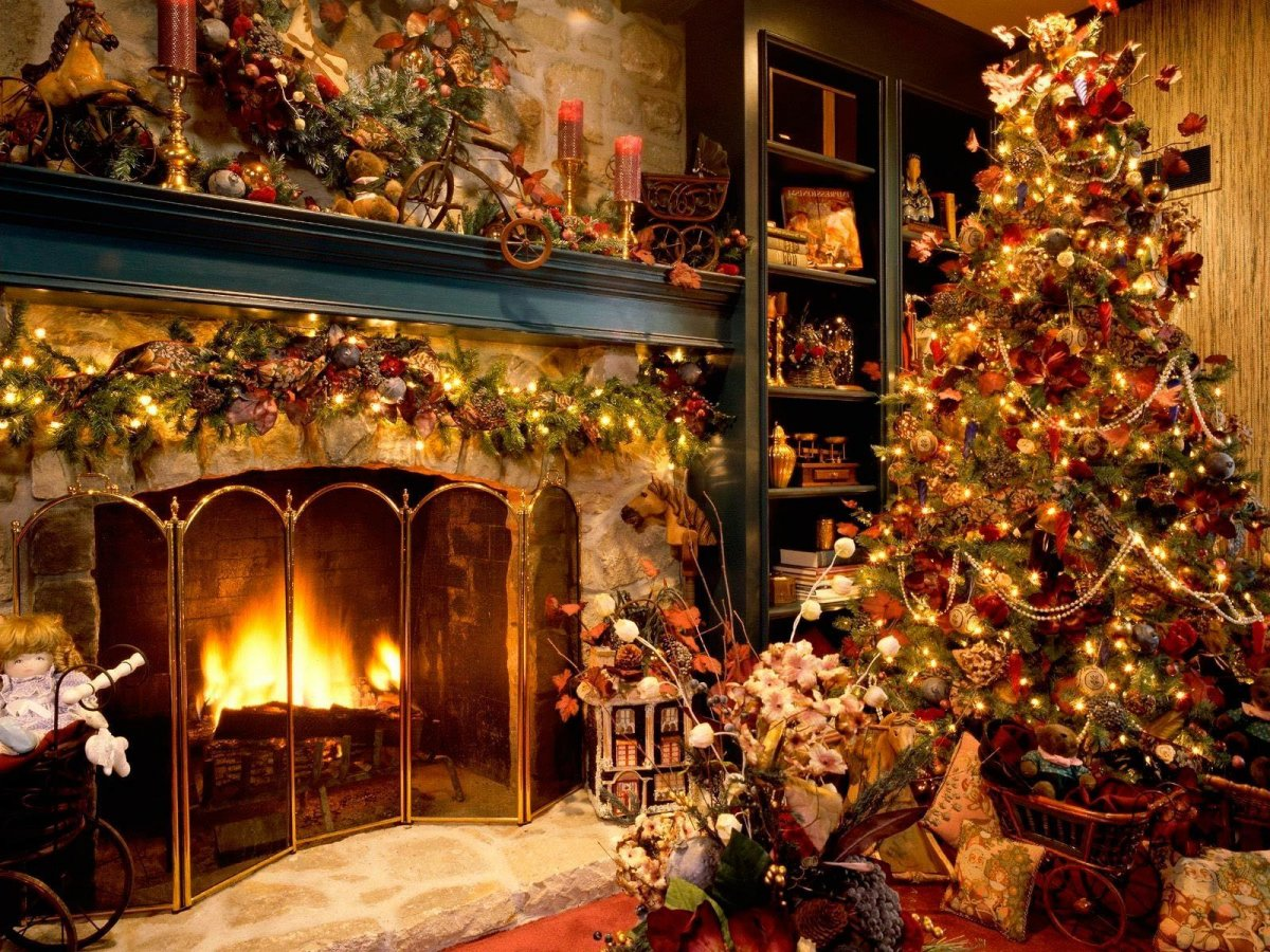 New year images with Christmas trees and fireplaces 18