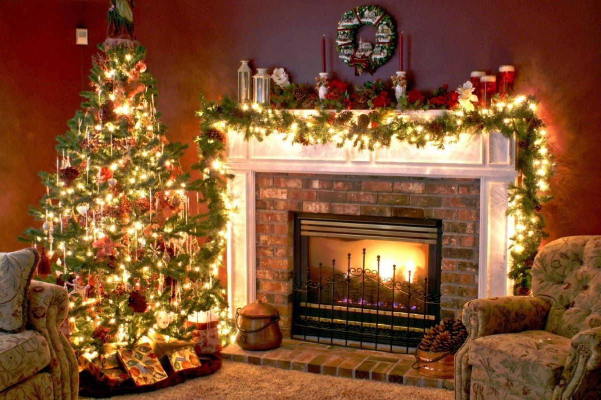 New year images with Christmas trees and fireplaces 19