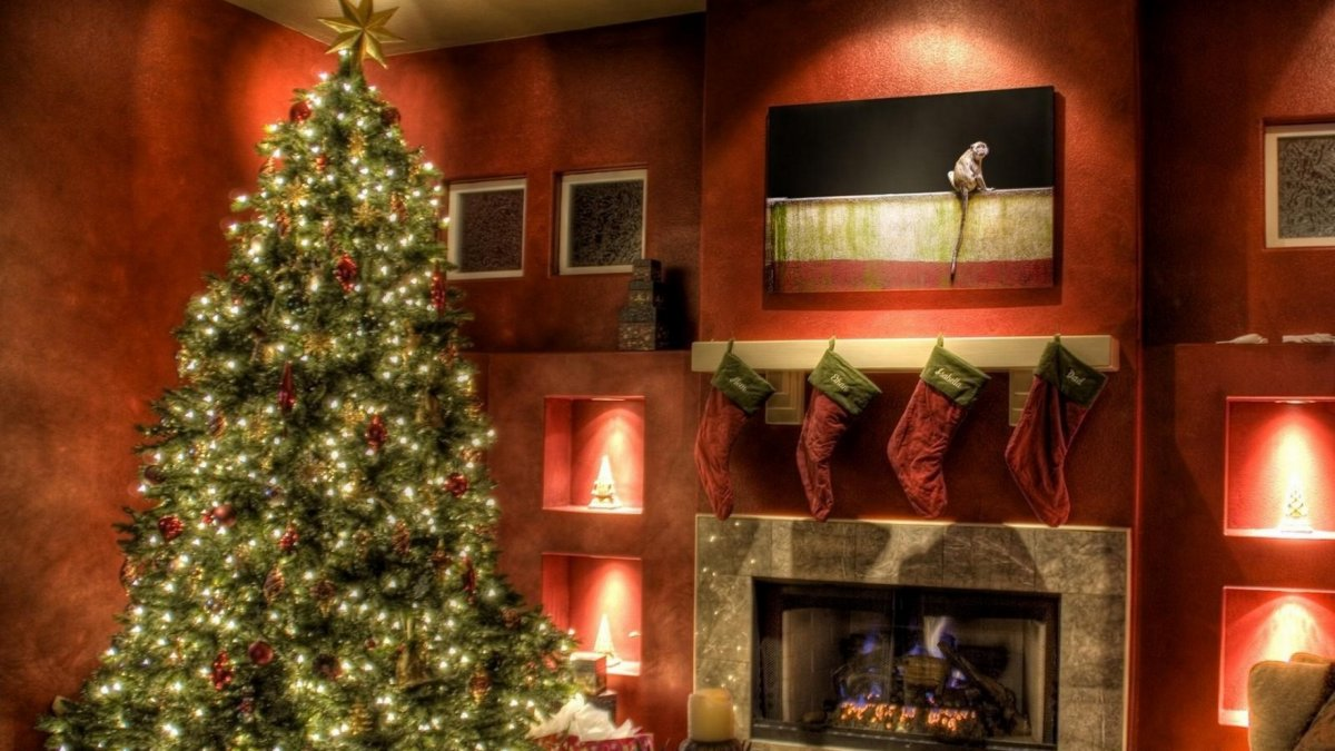 New year images with Christmas trees and fireplaces 20