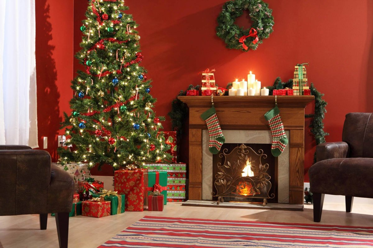 New year images with Christmas trees and fireplaces 23