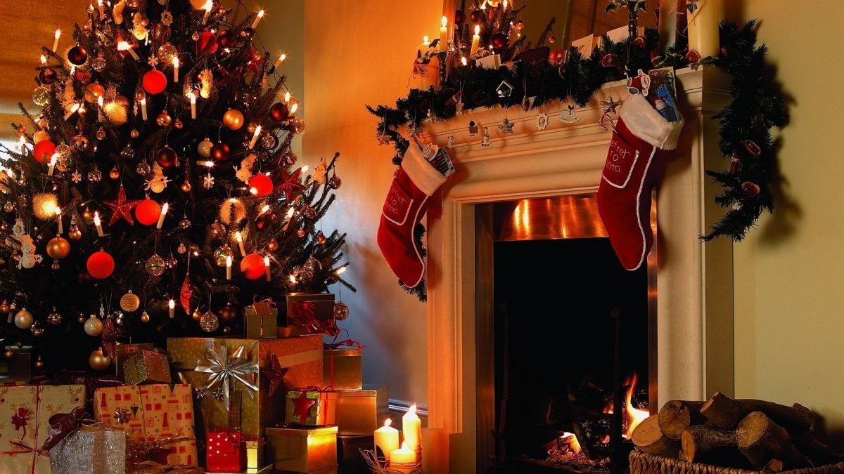 New year images with Christmas trees and fireplaces 24