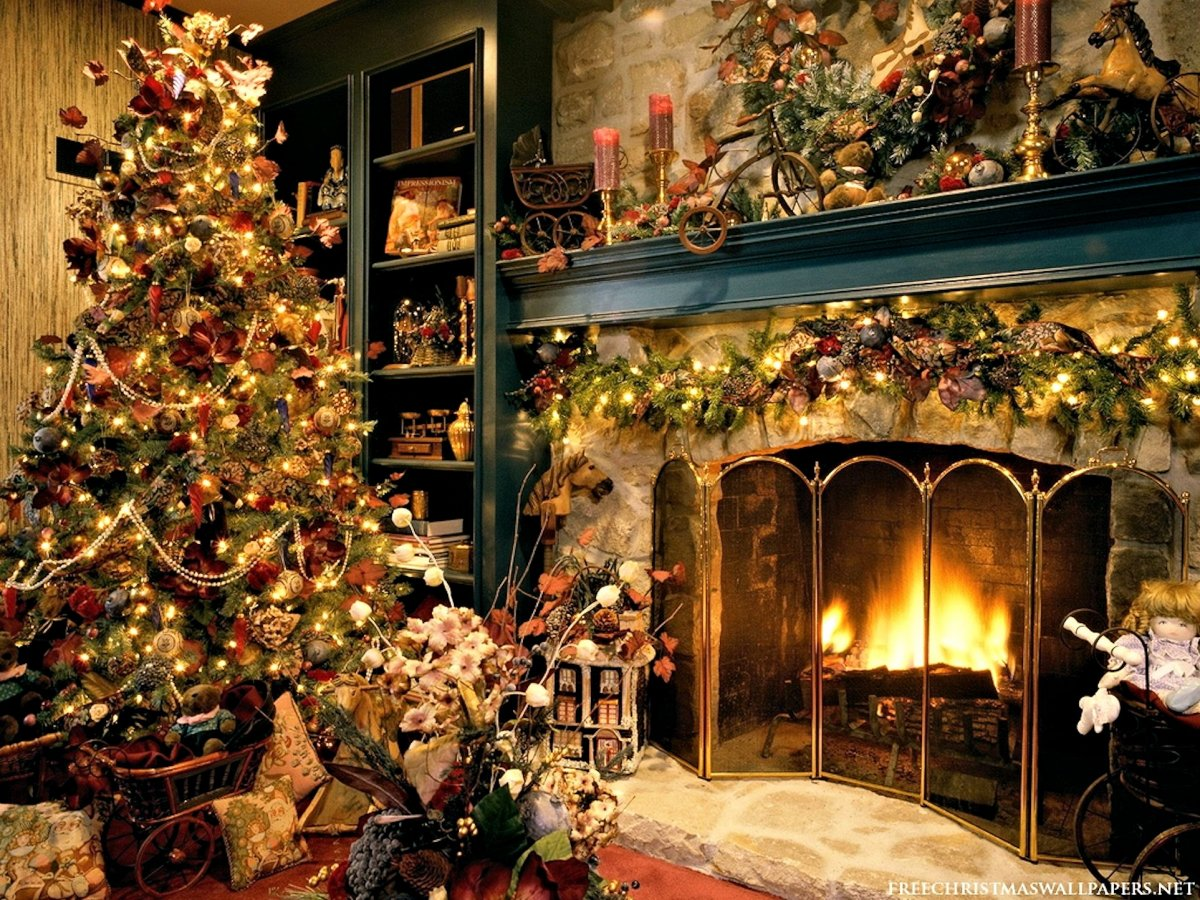 New year images with Christmas trees and fireplaces 26