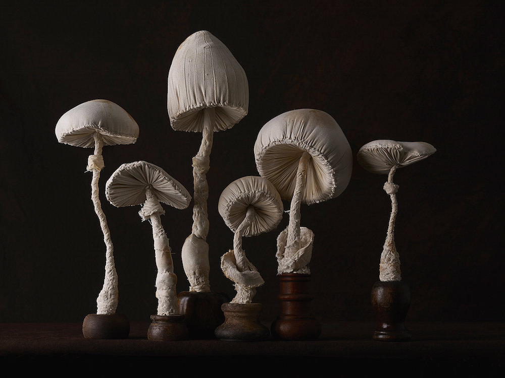 Скульптуры грибов поганок, созданных из винтажных тканей