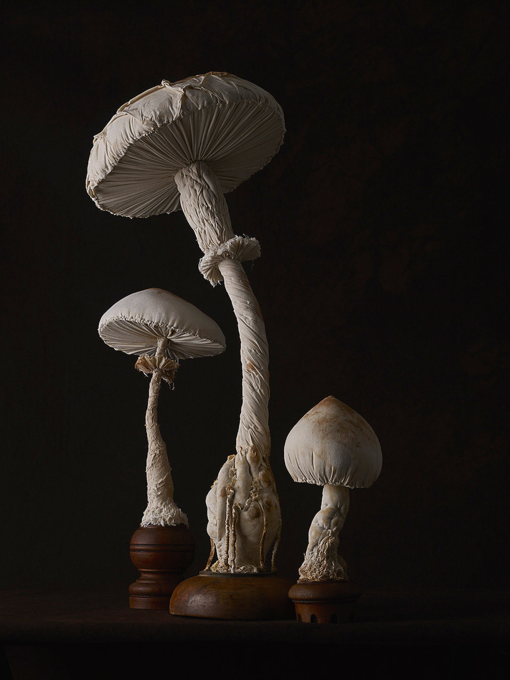 Sculptures of mushrooms toadstools, created from vintage fabrics 02