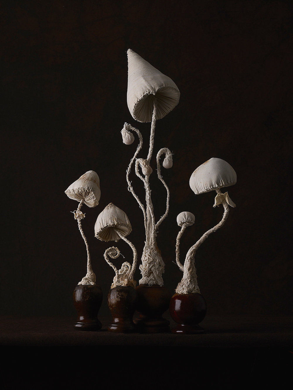 Sculptures of mushrooms toadstools, created from vintage fabrics 03
