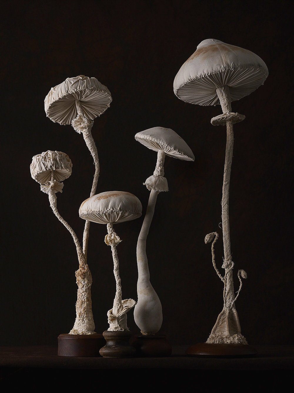 Sculptures of mushrooms toadstools, created from vintage fabrics 04