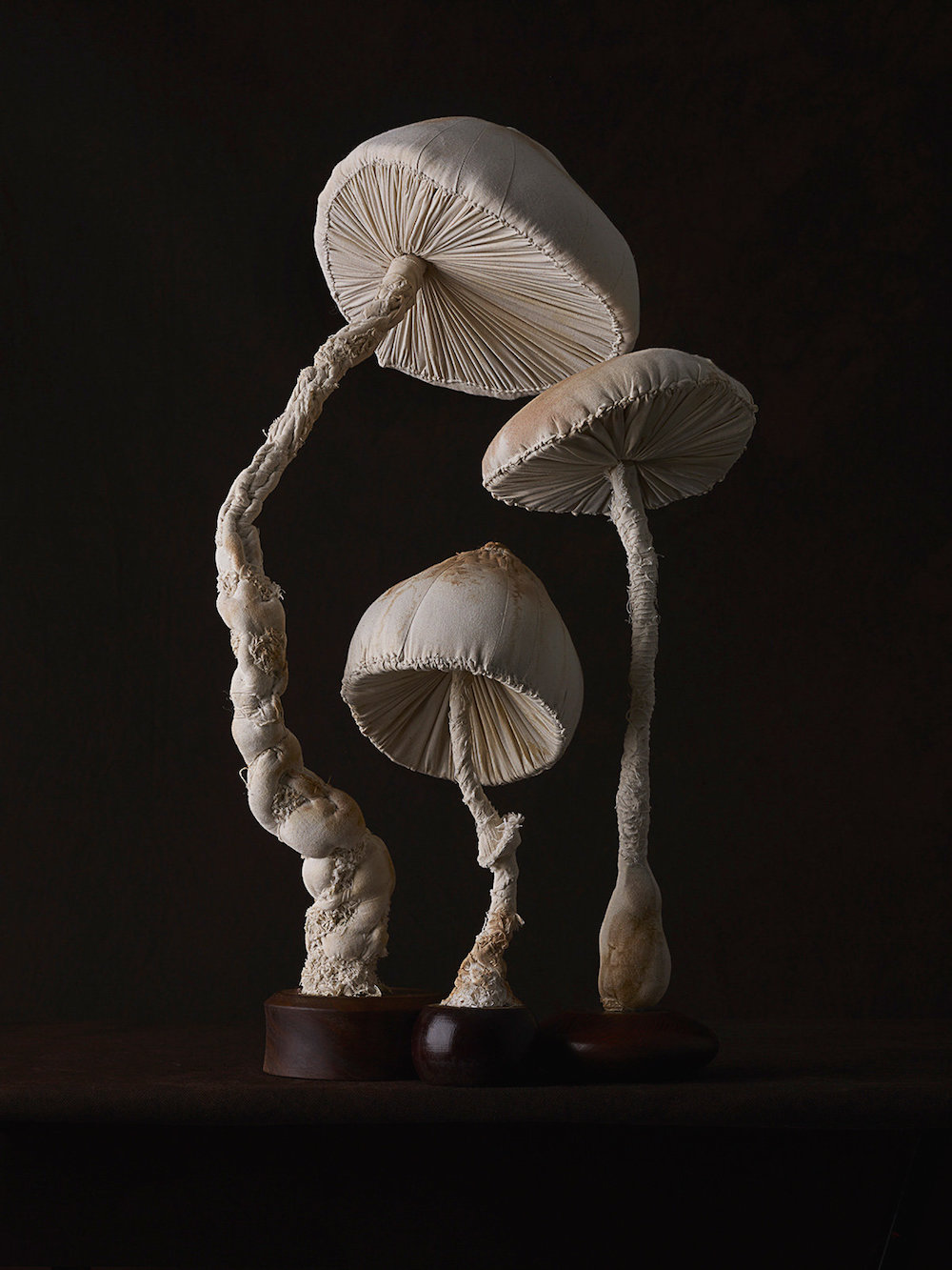 Sculptures of mushrooms toadstools, created from vintage fabrics 05
