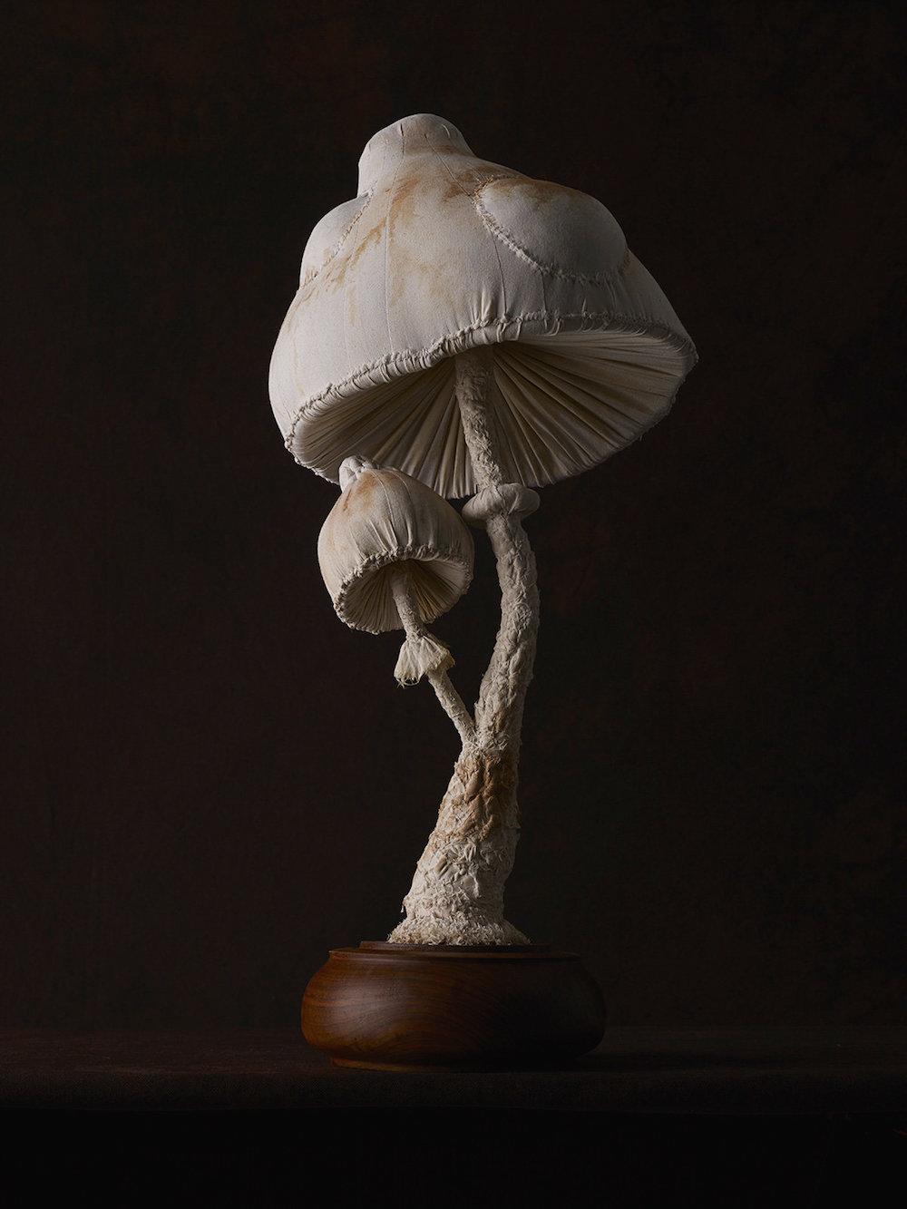 Sculptures of mushrooms toadstools, created from vintage fabrics 06
