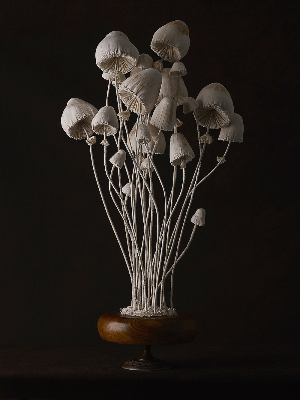 Sculptures of mushrooms toadstools, created from vintage fabrics 09