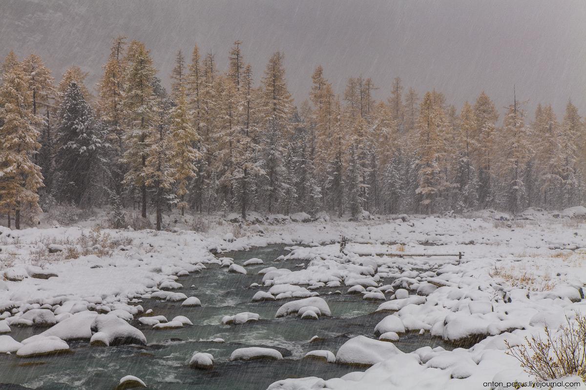 Winter Wonderland in autumn mountains 04