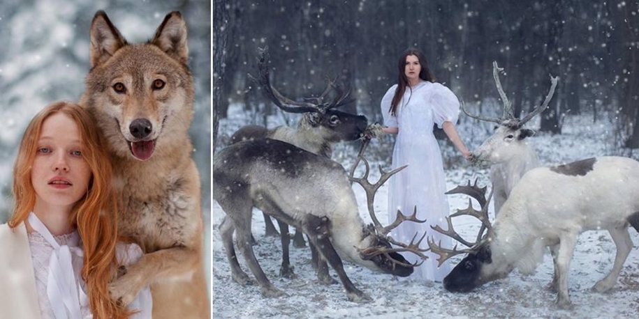 Harmony with nature in the portraits of girls with wild animals 01