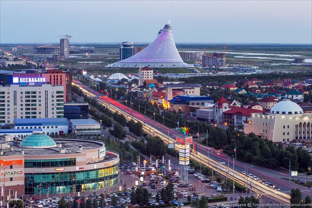 Evening Astana from the height 14