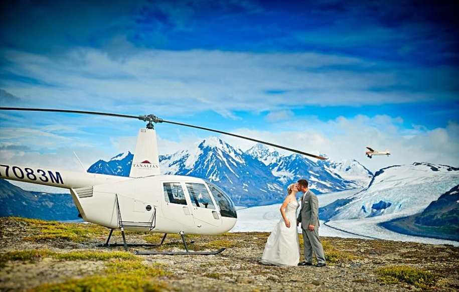 Wedding photos in a fantastic turquoise color, made on the glacier in Alaska 05