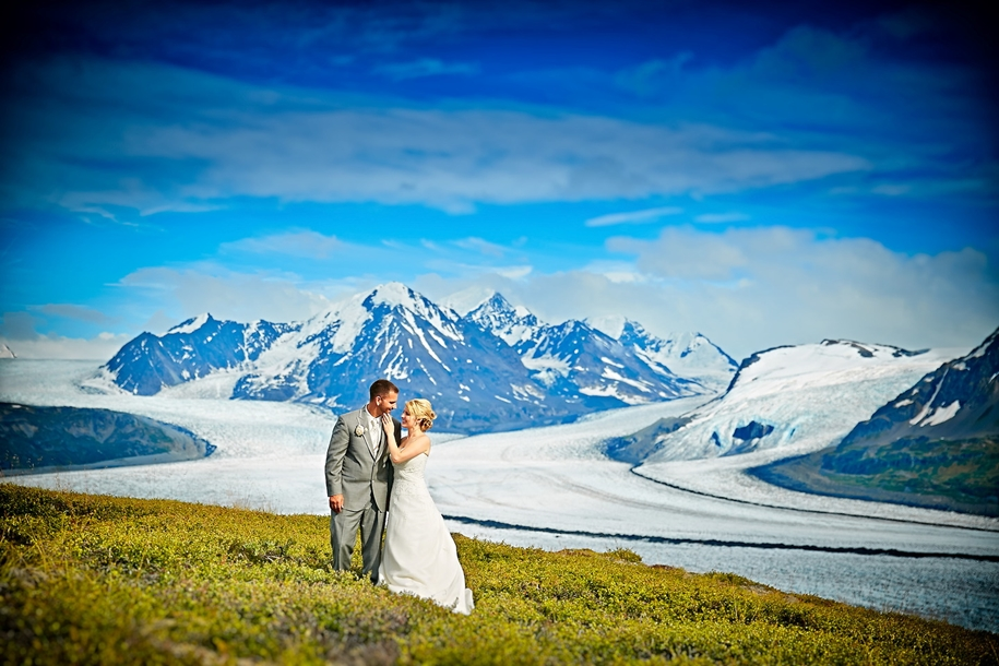 Wedding photos in a fantastic turquoise color, made on the glacier in Alaska 06