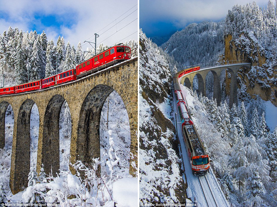 The railway, which passes in the scenic Swiss Alps 01