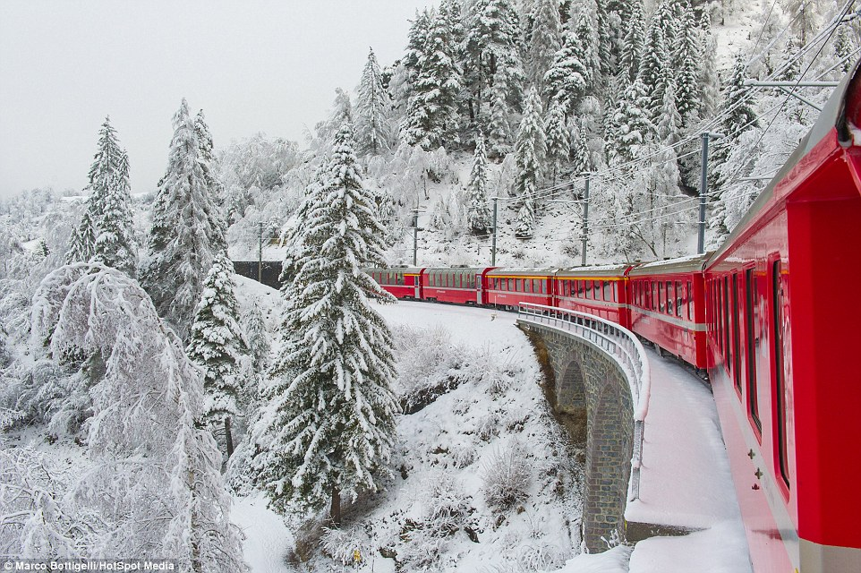 The railway, which passes in the scenic Swiss Alps 03