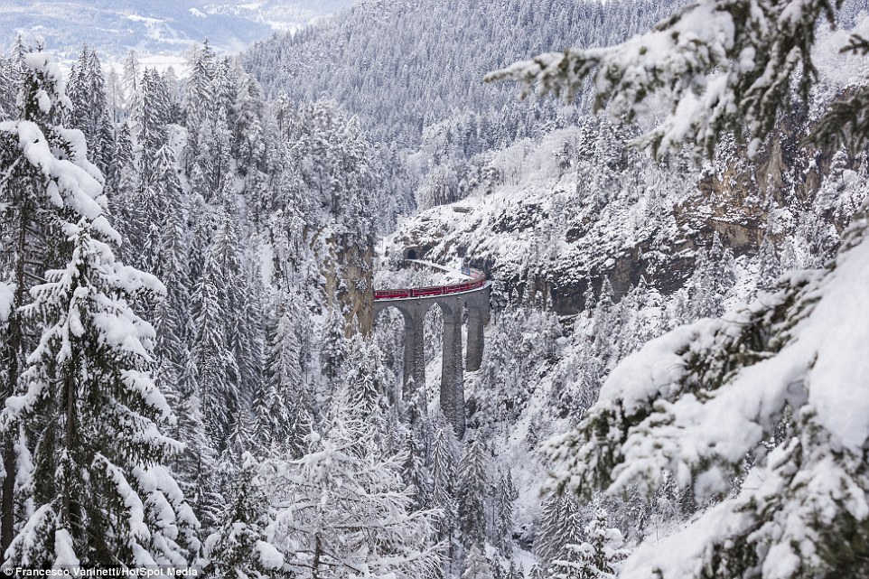 The railway, which passes in the scenic Swiss Alps 05
