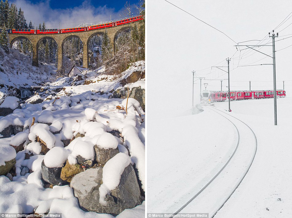 The railway, which passes in the scenic Swiss Alps 08