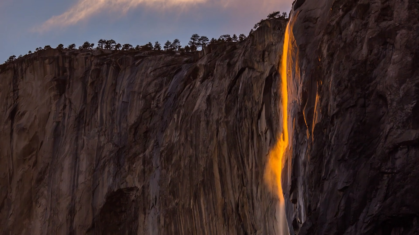 Timelapse video. -fire- waterfall