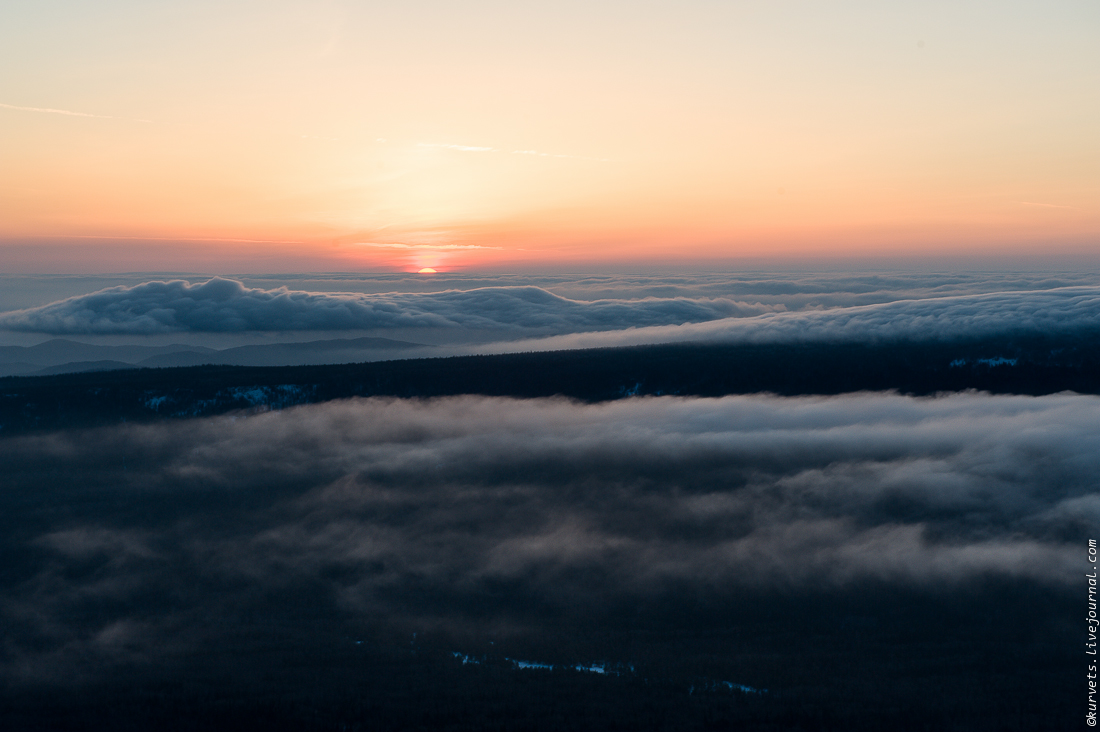 A meteorological station. Dawn above the clouds 01