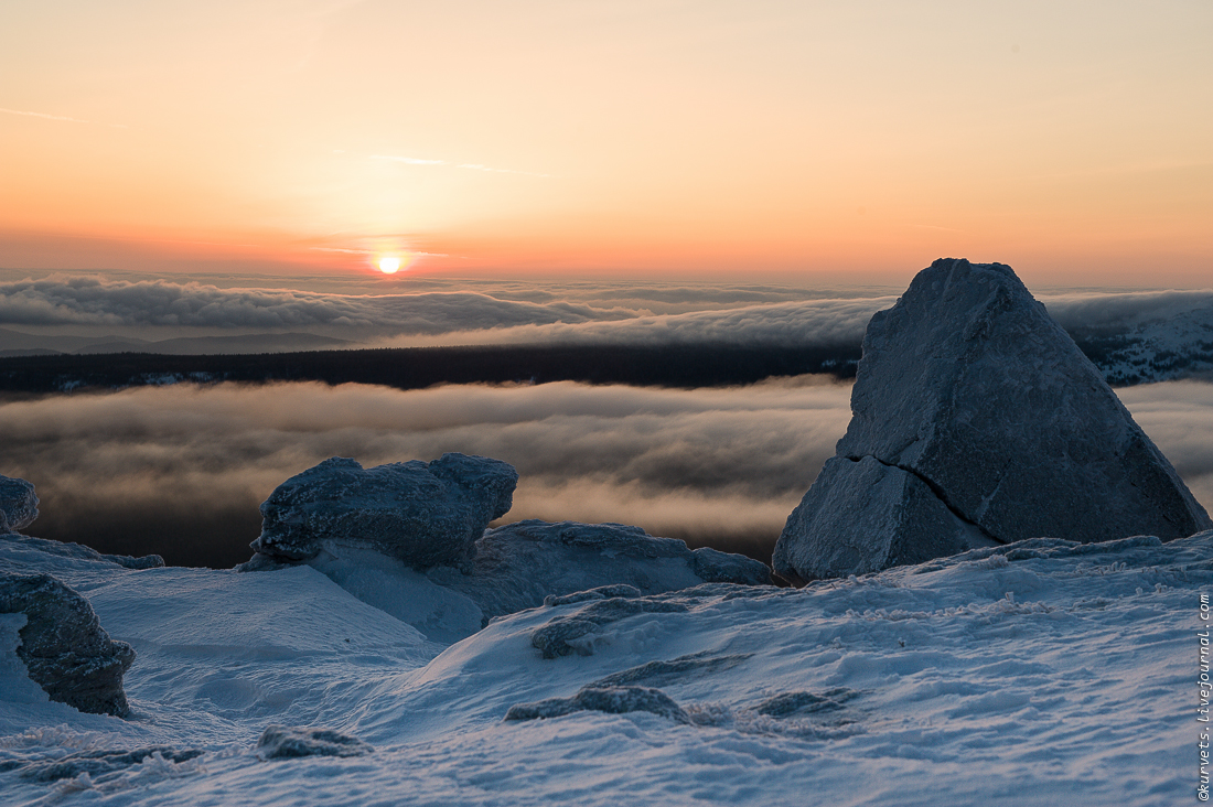 A meteorological station. Dawn above the clouds 09