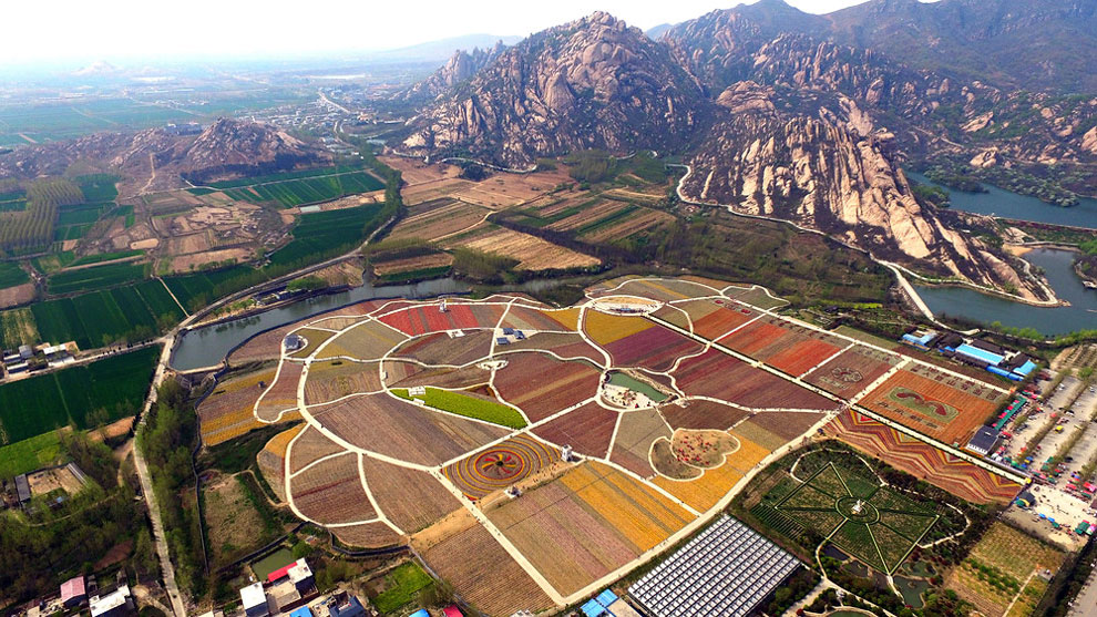 Breathtaking Aerial Views Of China's Tulip Fields 01