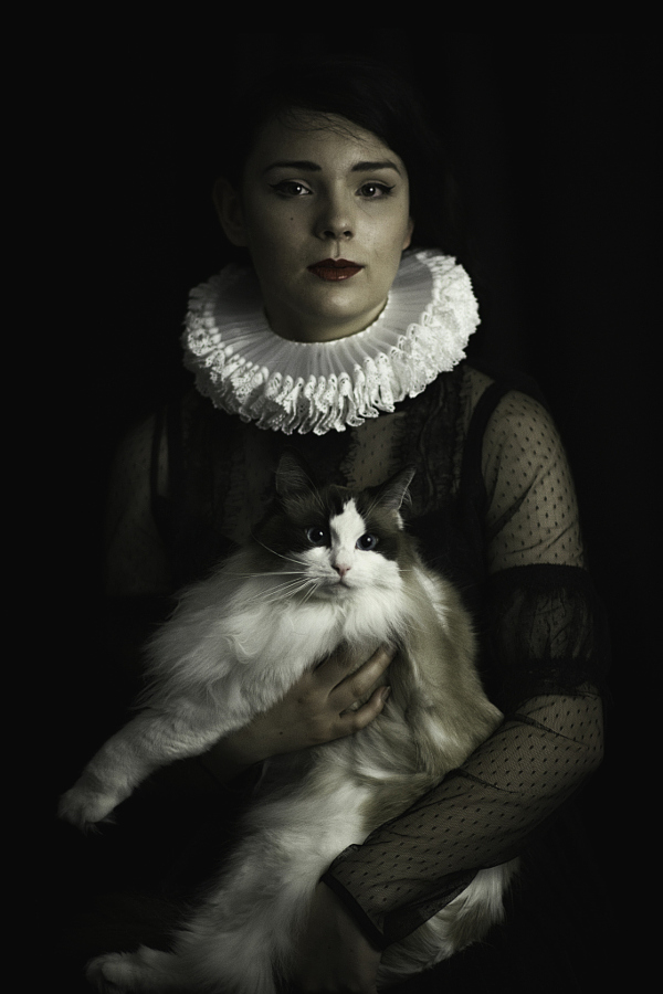 Portraits of girls with cats, like from the Renaissance 03