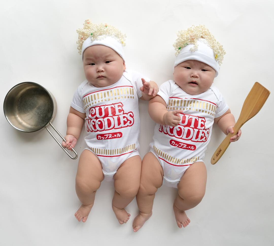 The twins in the wonderful photo shoot, which was created by the mother 13