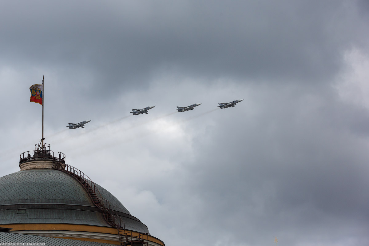 A rehearsal of aircraft parade on Victory Day 12
