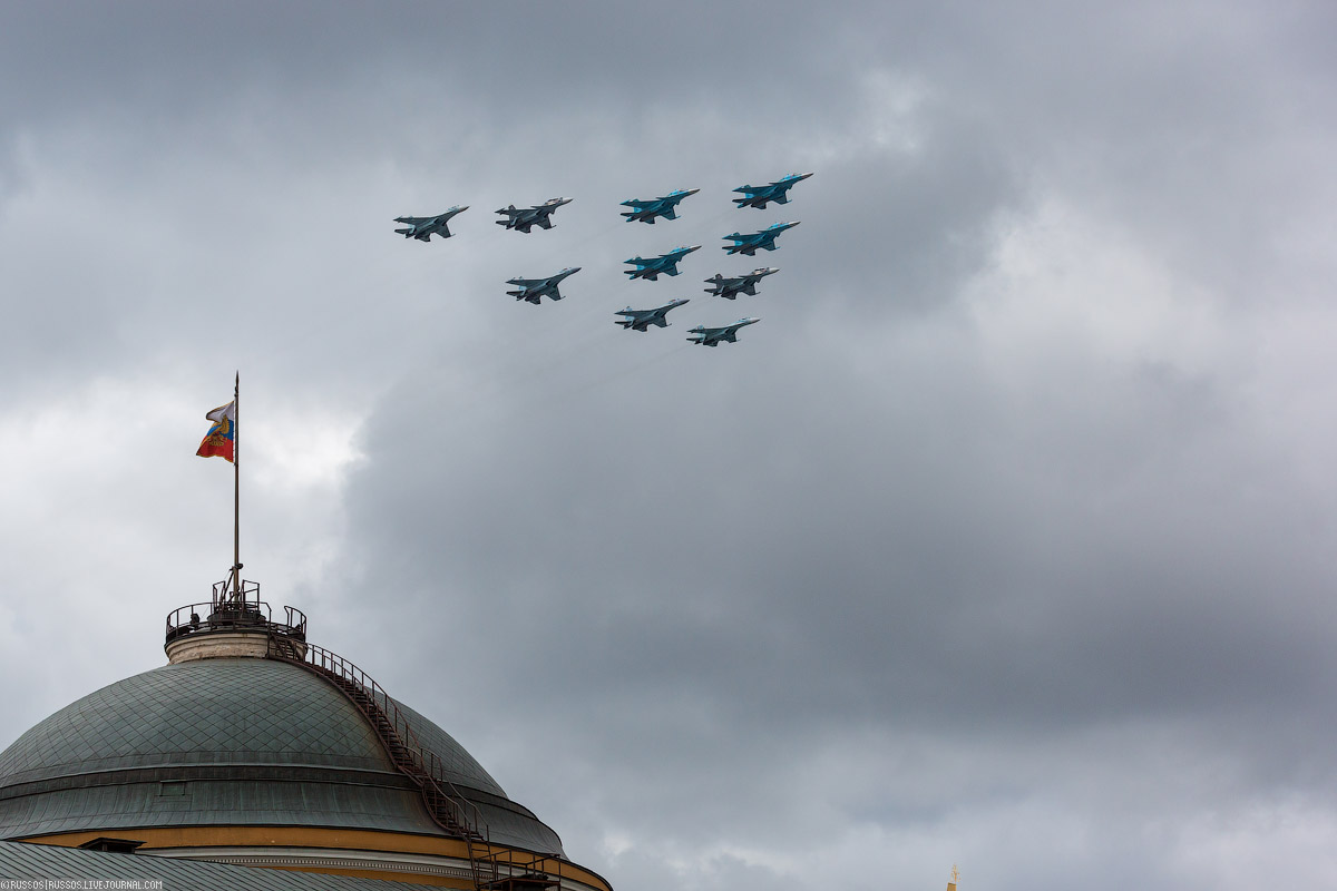 A rehearsal of aircraft parade on Victory Day 14
