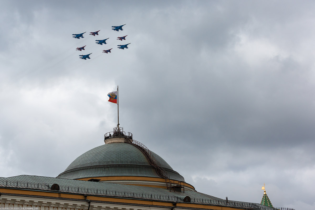 A rehearsal of aircraft parade on Victory Day 15