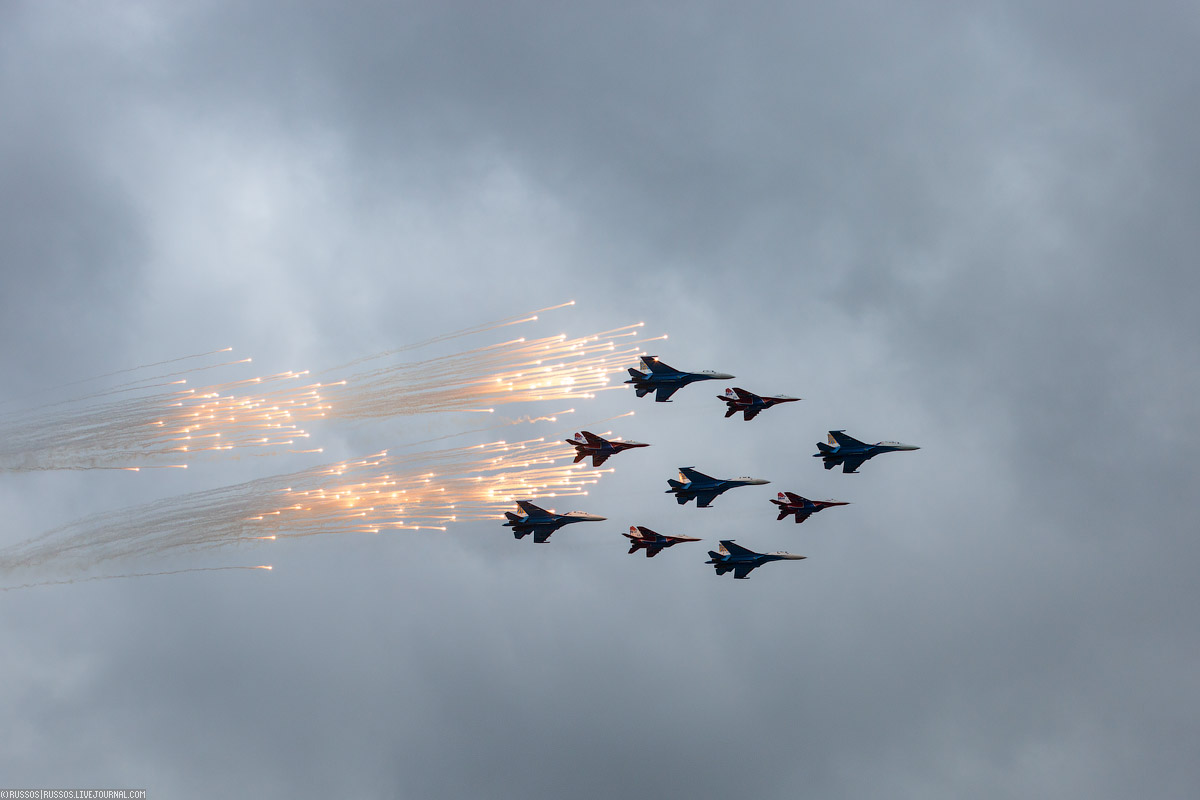 A rehearsal of aircraft parade on Victory Day 16