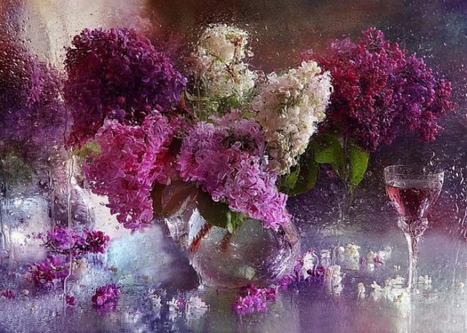 Beautiful lilacs in a still life photos 15