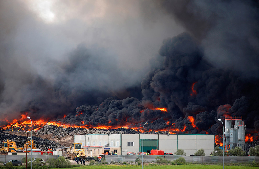 In Europe burned largest landfill tires 05
