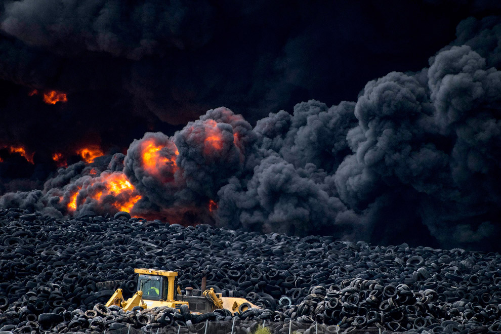 In Europe burned largest landfill tires 10