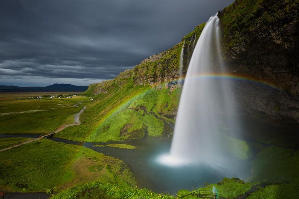 Scenic Norwegian waterfall, Seljalandsfoss 03